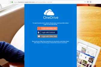 Abbildung OneDrive Phishing Webseite