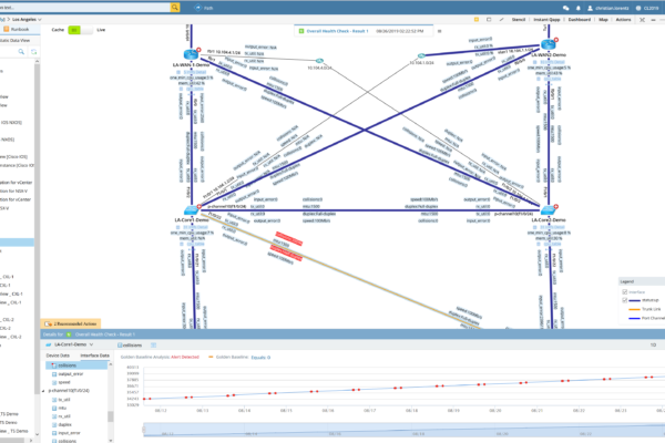 Golden Baselie mit Kollision Darstellung NetBrain Integrated Edition